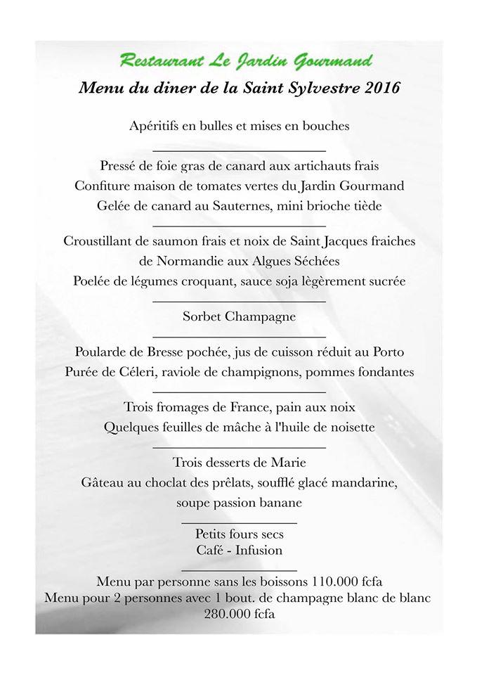 Saint Sylvestre 2016 à Abidjan Jardin Gourmand Restaurant Gastronomique Français